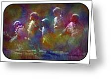 Native American - 5 Girls Dancing In The Moonlight Greeting Card