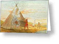 Native American Indian Sweat Lodge Greeting Card by Science Source