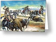 Native American Indians Killing American Bison Greeting Card