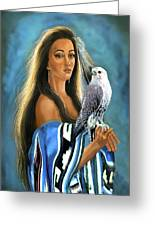 Native American Maiden With Falcon Greeting Card