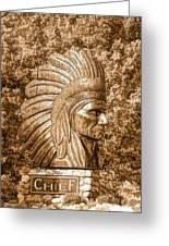Native American Statue Copper  Greeting Card