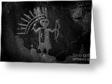 Native American Warrior Petroglyph On Sandstone Greeting Card