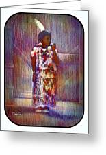 Native American - Young Girl Standing In Doorway Greeting Card