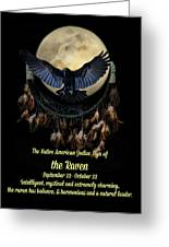 Native American Zodiac Sign Of The Raven Greeting Card