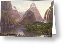 Native Figures In A Canoe At Milford Sound Greeting Card