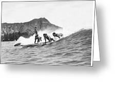 Native Hawaiians Surfing Greeting Card