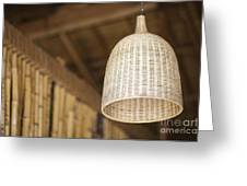 Natural Bamboo Interior Design Lampshade Detail Greeting Card