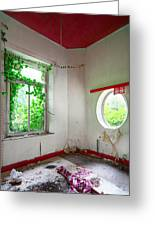 Nature Takes Over Oval Window -urbex Greeting Card