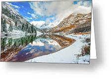 Natures Divine Canvas - Maroon Bells Aspen Colorado Greeting Card by Gregory Ballos