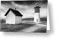 Nauset Light - Black And White Lighthouse Greeting Card