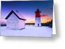 Nauset Lighthouse Sunset,  First Snow Greeting Card