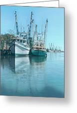 Nautical Aquas At The Harbor Greeting Card
