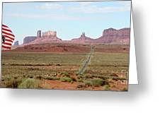 Navajo Flag At Monument Valley Greeting Card