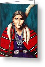 Navajo Woman In Red Greeting Card