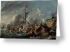 Naval Battle Between Spanish And Turks Greeting Card