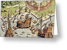 Naval Battle Between The Portuguese And French In The Seas Off The Potiguaran Territories Greeting Card