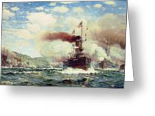 Naval Battle Explosion Greeting Card by James Gale Tyler