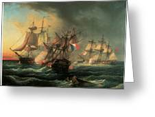 Naval Combat Between The Rights Of Man And The English Vessel Indefatigable And The Frigate Amazon Greeting Card