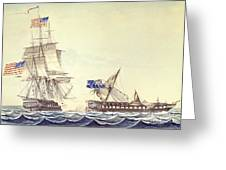 Naval Engagement Between The Uss Frigate Constitution And Hms Frigate Java Greeting Card