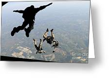 Navy Seals Jump From The Ramp Of A C-17 Greeting Card