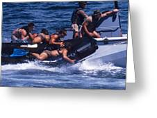 Navy Seals Practice High Speed Boat Greeting Card by Michael Wood