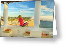 Nazare Viewpoint Woman Greeting Card