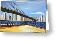 Neath The Brooklyn Bridge Greeting Card