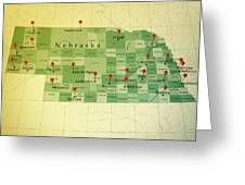 Nebraska Map Square Cities Straight Pin Vintage Greeting Card