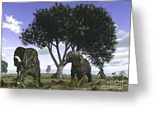 Nedoceratops Graze Beneath A Giant Oak Greeting Card