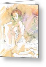 Neemah African American Nude Girl In Sexy Sensual Painting 4767. Greeting Card