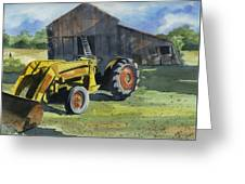Neighbor Dons Tractor Greeting Card