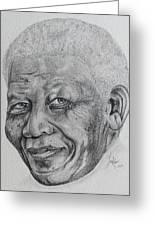 Nelson Mandela Greeting Card by Stephen Sookoo