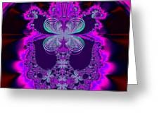 Neon Butterflies And Rainbow Fractal 137 Greeting Card