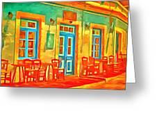 neon Cafe Greeting Card