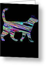 Neon Cat Cool Greeting Card