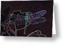 Neon Dragon Fly Greeting Card