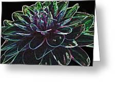 Neon Garden Dahlia I Greeting Card