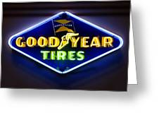 Neon Goodyear Tires Sign Greeting Card