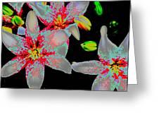 Neon Lilies Greeting Card