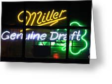 Neon Miller Beer Greeting Card