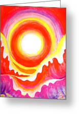 Neon Red Sky And Sea Greeting Card