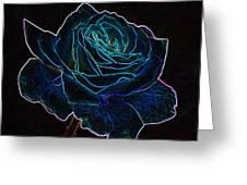 Neon Rose 3 Greeting Card
