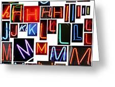 neon series G through N Greeting Card