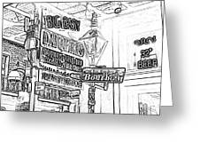 Neon Sign On Bourbon Street Corner French Quarter New Orleans Black And White Photocopy Digital Art Greeting Card