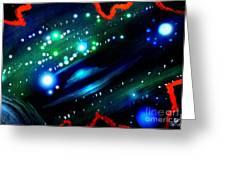 Neon Stars, Green Galaxy And Ufo Greeting Card
