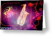 Neons Saxaphone Greeting Card