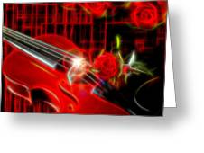 Neons Violin With Roses Greeting Card