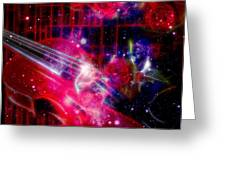 Neons Violin With Roses With Space Effect Greeting Card