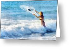 Net Fishing The Sea Greeting Card