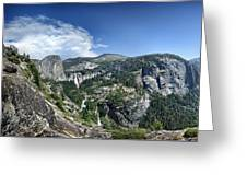 Nevada And Vernal Falls From Near Grizzly Peak - Yosemite Valley Greeting Card